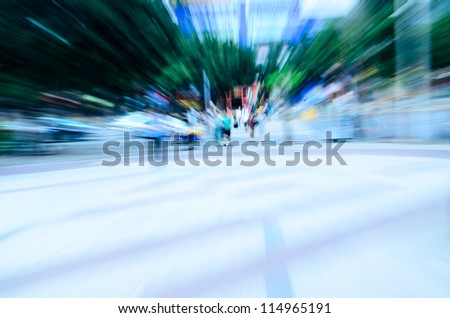 business people walk on street, abstract blur