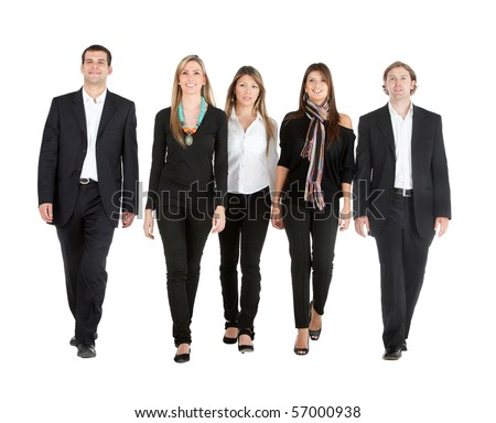 Business people walking - isolated over a white background