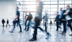 Business People Walking on a modern floor