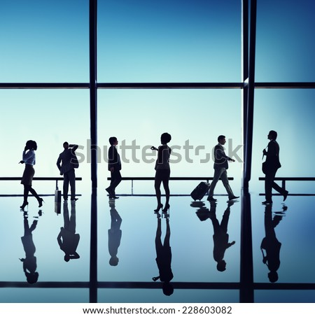 Business People Walking Waiting Office Concept