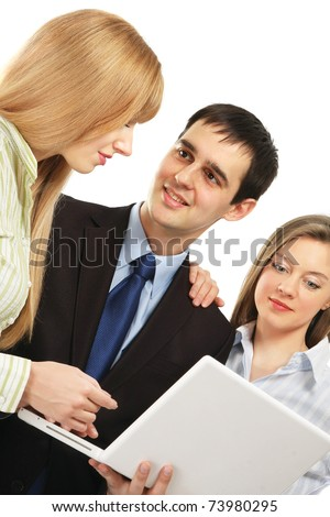 Business people with a laptop - stock photo