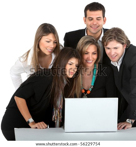 Business people with a laptop computer - isolated over a white background