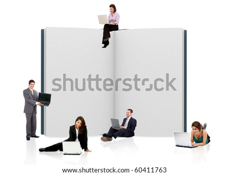 business people with an open book in 3D - isolated over a whie background