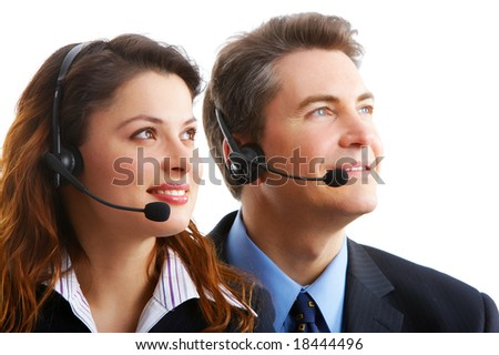 business people with headsets. Over white background