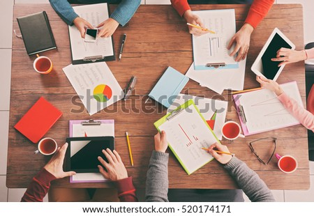 Business people working at office, closeup #520174171
