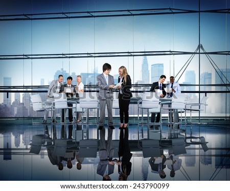Business People Working Cityscape Office Building Teamwork Concept #243790099
