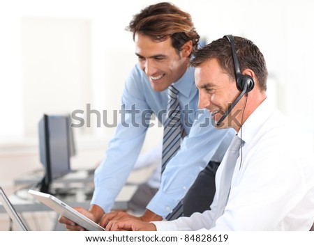 Business people working in call center