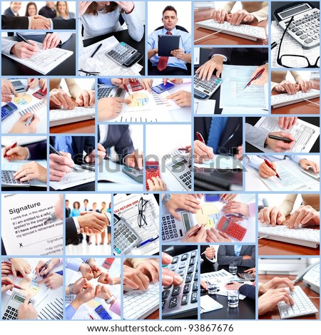 Business people working in the office. Collage.