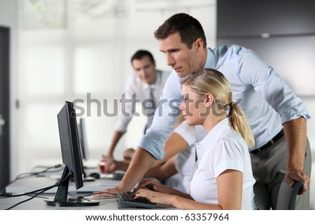 Business people working on computer