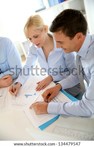 Business people working on financial project