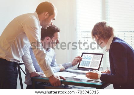 business people working on project together in the office, teamwork concept