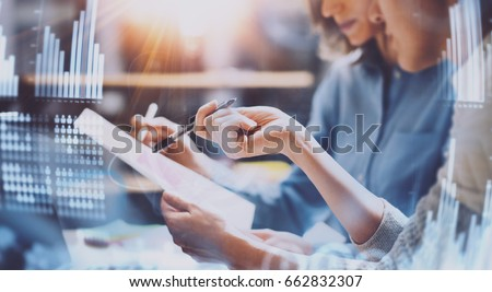 Business people working process.Young coworkers working together in modern office.Woman talking with colleague.Concept of digital diagram,graph interfaces,virtual screen,connections icon.Wide #662832307