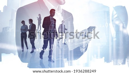 Business People working together, analysts trying to predict stock market behavior. CEO in front view holding a cup of coffee, concept of lunch time and break.Moscow on background. Double exposure