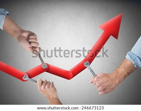Business people working together to raise the statistics