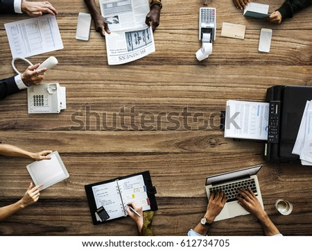 Business People Working Use Laptop Agenda Printer - Shutterstock ID 612734705