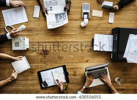 Business People Working Use Laptop Agenda Printer - Shutterstock ID 630556055