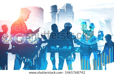 Business people working with gadgets in city with double exposure of business infographics interface. Concept of stock market and hi tech. Toned image. Elements of this image furnished by NASA #1465768742