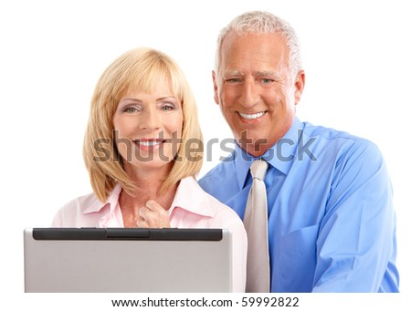 Business people working with laptop. Isolated over white background