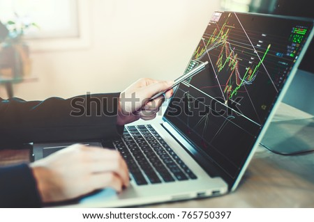 business people working with stock trading forex with technical indicator tool on laptop