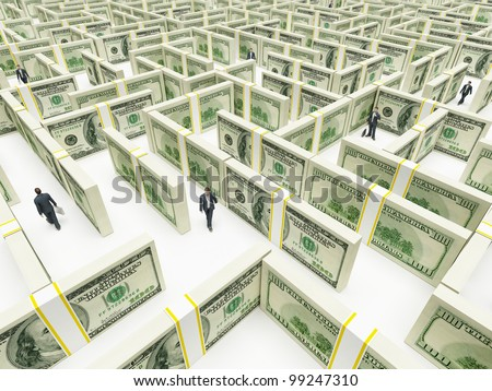 Business peoples in Financial Maze Labyrinth made of 100 usd banknotes. High resolution 3D rendering.