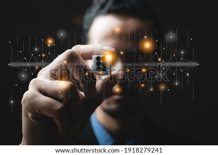 business person hand throw the dice, business gambling game concept Foto stock ©
