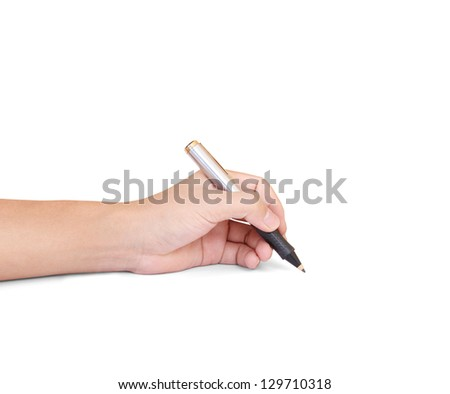 business person hand with pen over document