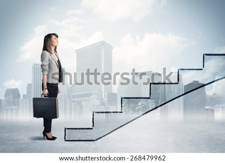 Business person in front of a staircase, city on the background #268479962