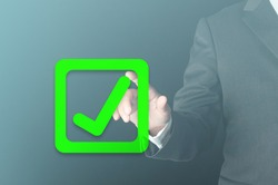 business person use finger press virtual green check mark sign on checkbox as good decision approved. business progress validated concept