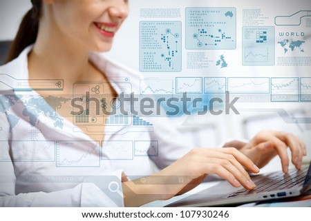 Business person working on computer against technology background #107930246