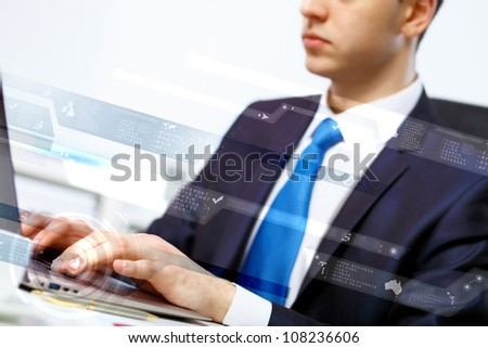 Business person working on computer against technology background #108236606