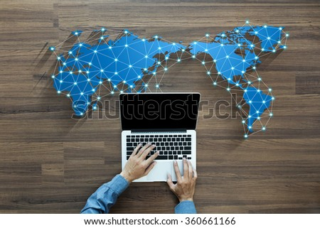 Business person working on computer social media network concept innovation technology background