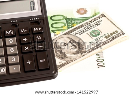 Business picture: money and calculator over white