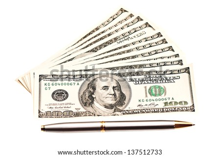 Business picture: money and pen over white