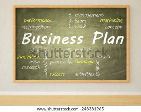 Business Plan - 3d render illustration of text on green blackboard in a room.