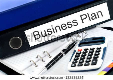 Business plan folder on desk