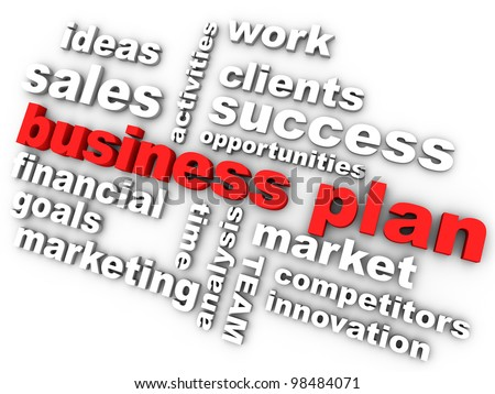 business plan in red surrounded by relevant words