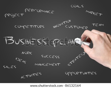 business plan on blackboard - stock photo