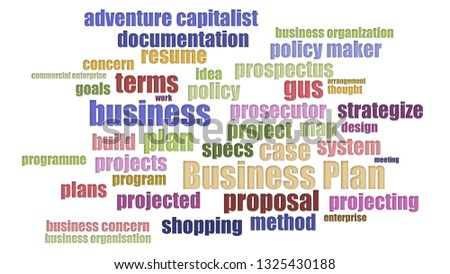 Business Plan Wordcloud In Rows On White Background
