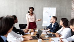 Business Presentation. African American Businesswoman Giving Speech During Corporate Meeting Presenting Project To Colleagues Standing Near Blackboard In Modern Office. Panorama
