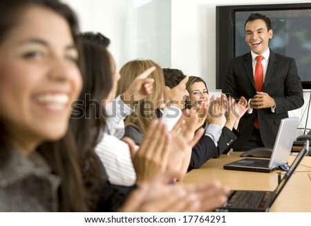Business presentation or meeting success in an office