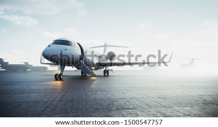 Business private jet airplane parked at outside and waiting vip persons. Luxury tourism and business travel transportation concept. 3d rendering Сток-фото ©