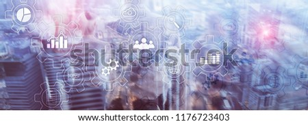 Business process abstract diagram with gears and icons. Workflow and automation technology concept.