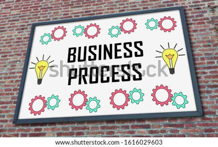 Business process concept drawn on a billboard fixed on a brick wall