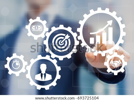 Business process management and workflow automation diagram with gears and icons with flowchart in background. Manager touching interface - Shutterstock ID 693725104