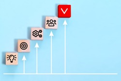 Business process management, plan a project with wooden cubes with icon business strategy on blue background.
