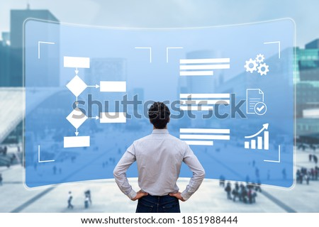 Business process management with flowchart to improve efficiency and productivity. Manager analysing workflow on computer screen to implement robotic automation (RPA)