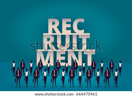 Business recruitment concept. HR manager hiring new employee or workers for job. Recruiting staff or personnel in their corporate company. Hiring illustration. Talent acquisition illustration.