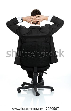 Business relaxation of the businessman. Isolated over white background