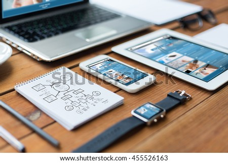business, responsive design and technology concept - close up of on laptop computer, tablet pc, notebook and smartphone with scheme and internet news on wooden table