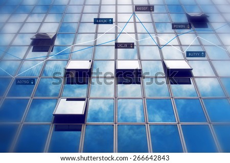 Business Results on Stock Market Concept with Infographics chart over blur office building windows.